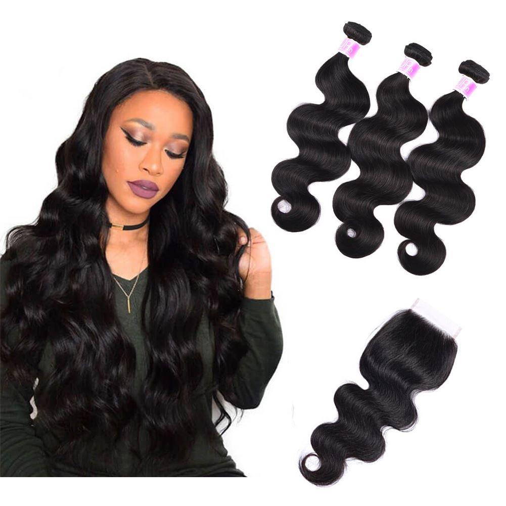 Annelbel Human Hair Brazilian Virgin Hair Body Wave 3 Bundles With