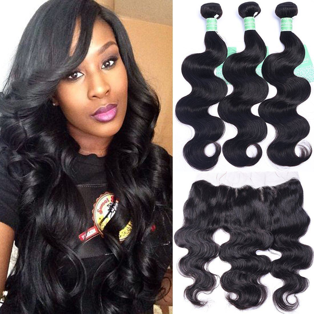 Annelbel Human Hair Brazilian Hair Body Wave 3 Bundles With Lace