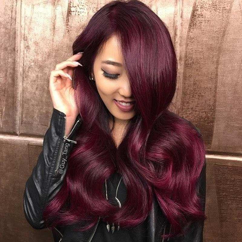 Annelbel Human Hair Brazilian Body Wave Hair Burgundy 99j Red Color