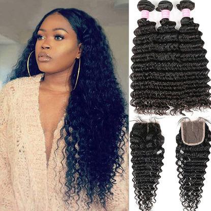 Brazilian Deep Wave 8A Unprocessed Virgin Hair 3 Bundles with Middle Part Lace Closure