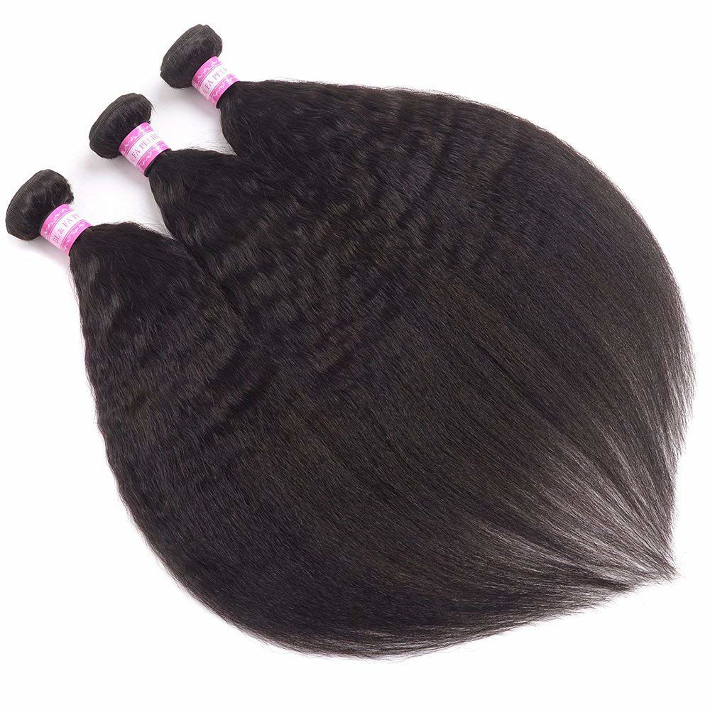 Brazilian Kinky Straight Hair Bundles Yaki Straight Human Hair Weave Bundles Unprocessed 8A Brazilian Virgin Human Hair Bundles