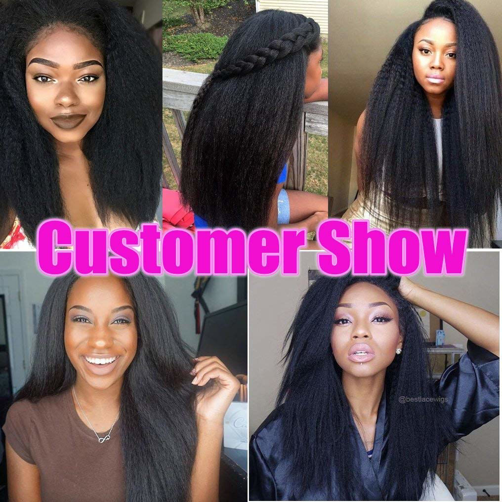 Kinky Straight Human Hair Yaki Straight Hair Weave Hair Bundles Unprocessed 8A Brazilian Virgin Human Hair Bundles