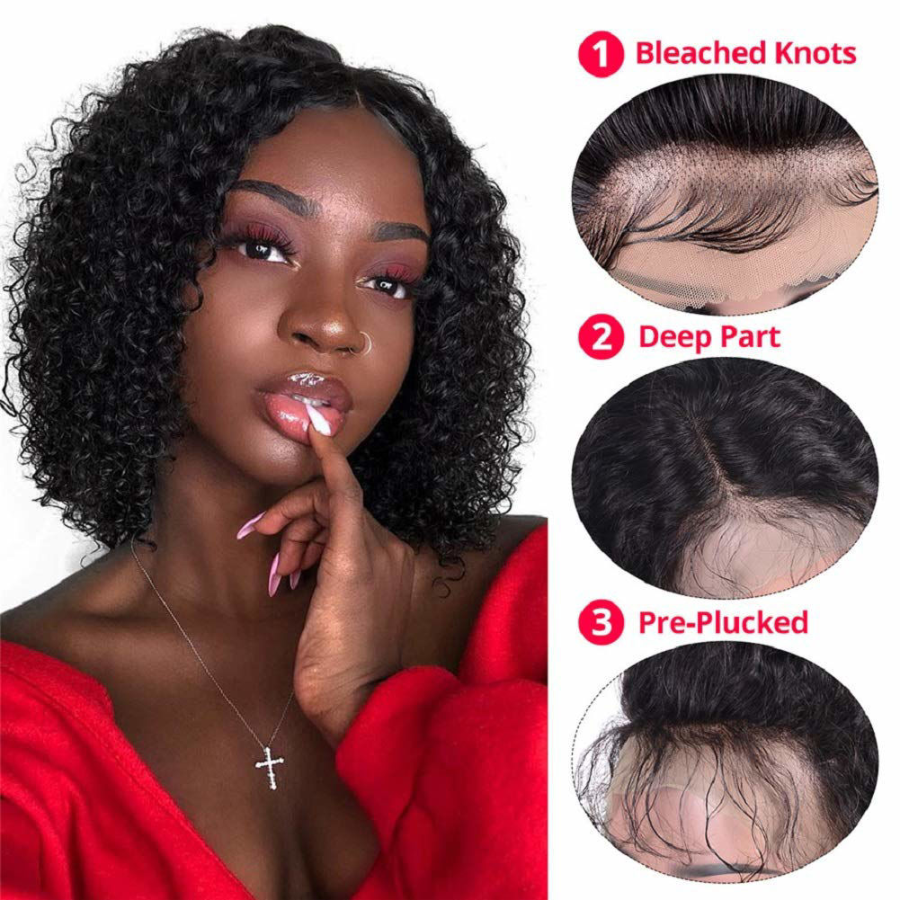 Curly Short Bob Wig Human Hair Lace Front Wig For Black Women Brazilian Virgin Hair Kinky Curly Bob Wigs Remy Hair Wigs