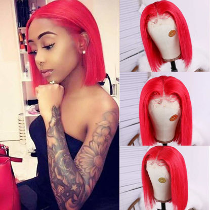 Short Lace Wigs Silky Straight Bob Wigs for Black Women 150% Density Lace Front Wigs Human Hair with Pre Plucked Natural Hairline Red Color