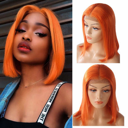 Bob Lace Front Wigs for Women Brazilian Human Hair Lace Front Wig 150% Density Pre Plucked with Baby Hair Orange Color