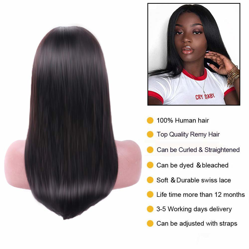 4*4 Lace Front Wigs Straight Human Hair Brazilian Virgin Human Hair Lace Closure Wigs For Black Women