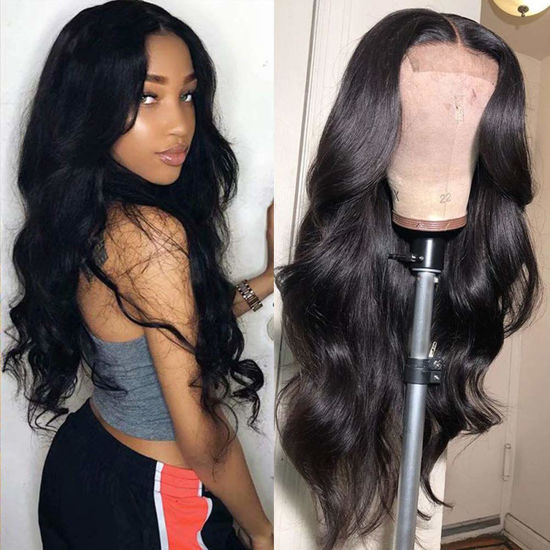 Annelbel  4x4 Lace Front Wigs Body Wave Brazilian Virgin Human Hair Lace Closure Wigs For Black Women 150% Density Pre Plucked With Elastic Bands Natural Color Hairline body wave wig