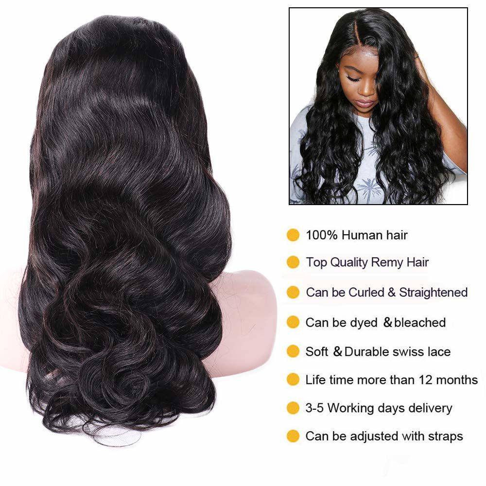 Annelbel Hair 4x4 Lace Front Wigs Body Wave Brazilian Virgin Hair Lace Closure Wigs For Women 150% Density Pre Plucked With Elastic Bands Natural Color Hairline body wave wig