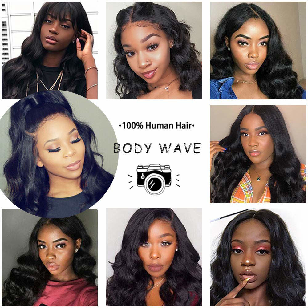 Annelbel Hair 4x4 Lace Front Wig Brazilian Virgin Hair Body Wave Lace Closure Wigs For Women 150% Density Pre Plucked With Elastic Bands Natural Black Hairline body wave wig