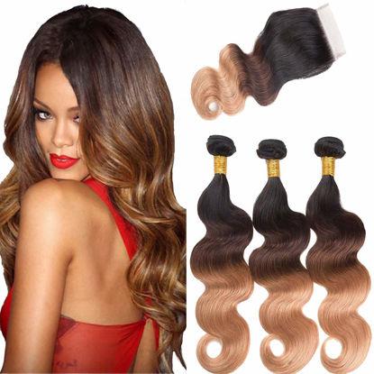 Ombre Bundles with Closure Brazilian Body Wave 3 Bundles 10A Ombre Bundles of Brazilian Hair with Lace Closure Free Part 1B#4#27#