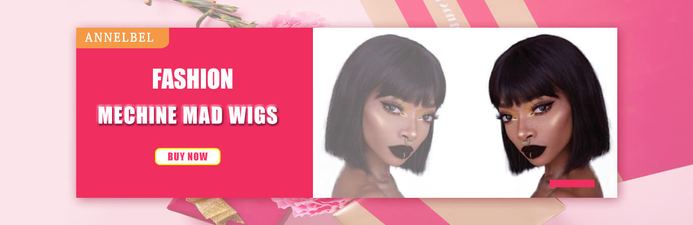 ANNELBEL-Hair-Human Hair Wigs with Bangs Brazilian Straight Short BoB Wigs None Lace Front Wigs Human Hair Glueless Machine Made Bob Wigs for Black Women
