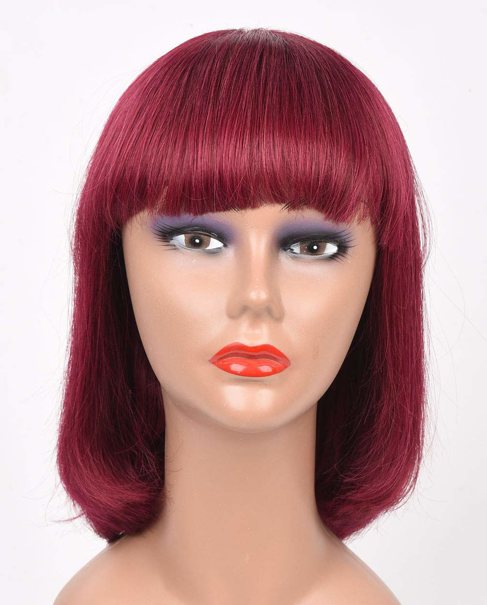 Wine Red Bob Wig with Bangs Human Hair Machine Made None Lace Front Wigs 99j