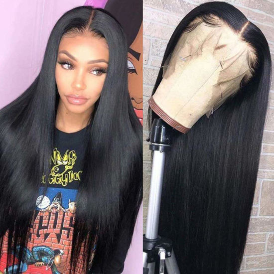 360 Lace Front Wigs Straight Brazilian Virgin Human Hair with Baby Hair Pre Plucked Lace Frontal Wigs For Black Women 1