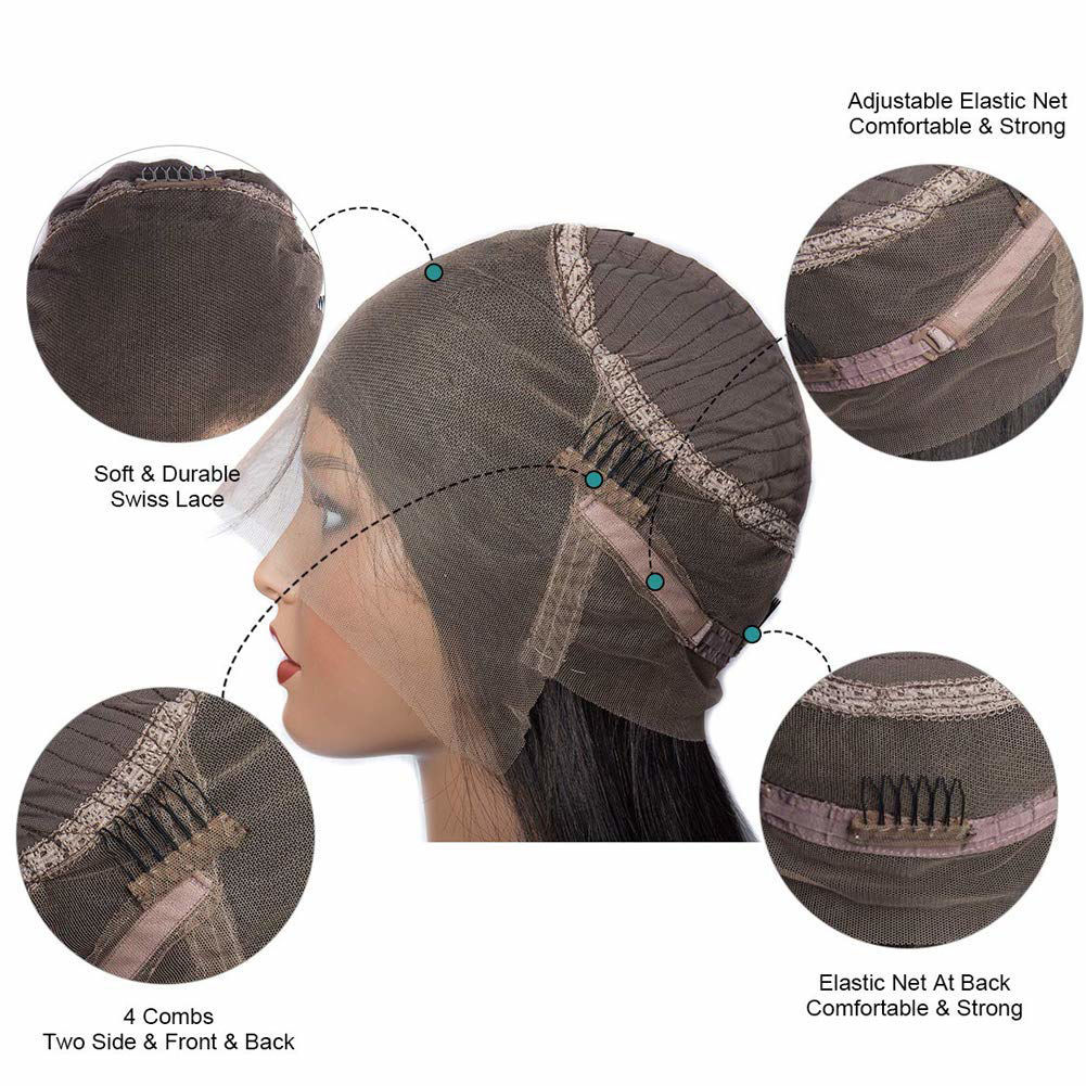 360 Lace Front Wigs Straight Brazilian Virgin Human Hair with Baby Hair Pre Plucked Lace Frontal Wigs For Black Women 4