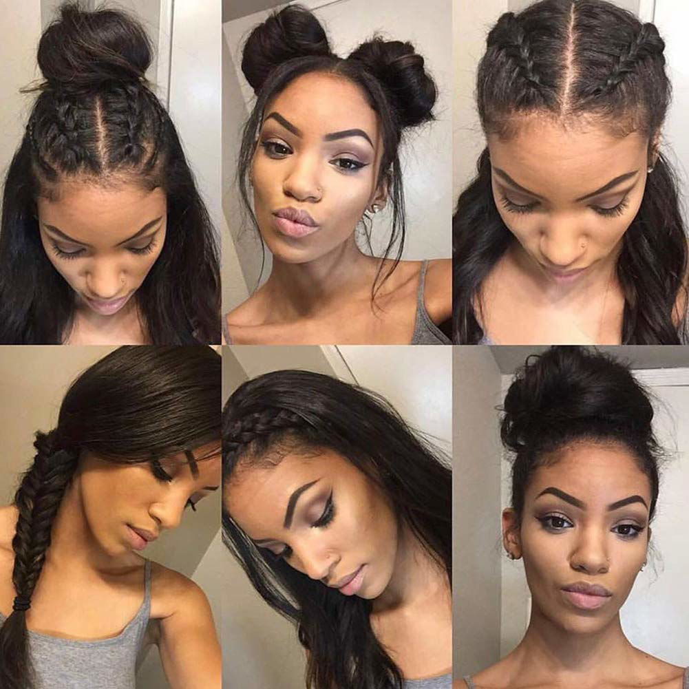 360 Lace Front Wigs Straight Brazilian Virgin Human Hair with Baby Hair Pre Plucked Lace Frontal Wigs For Black Women 7
